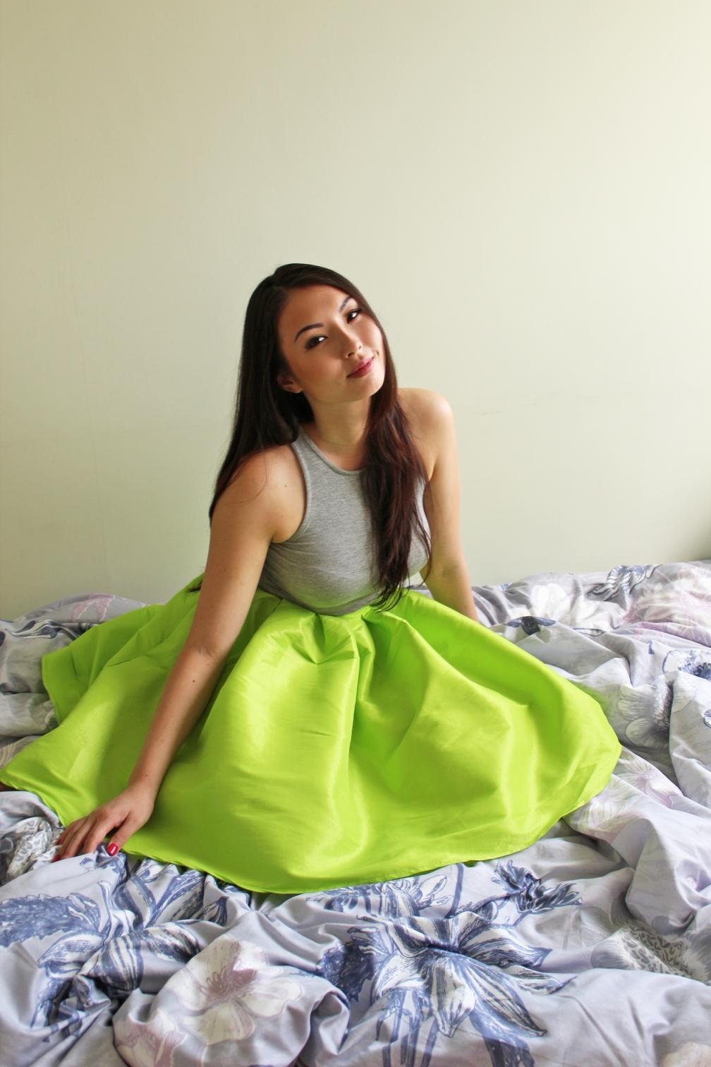 Dandy Skirt in Neon Lime. Silk polyester blend. $60